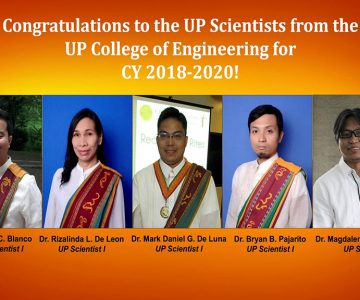 COE faculty members have been selected for the UP Scientific Productivity System for 2018-2020!