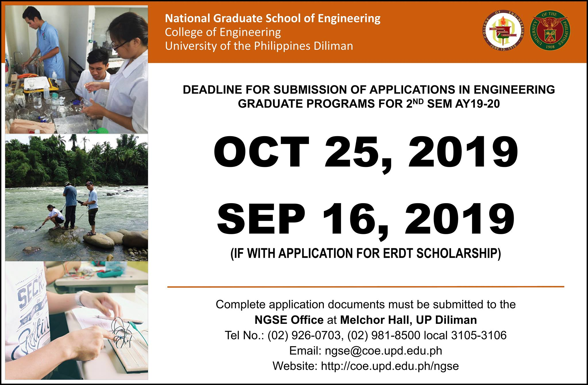 Deadline for Submission of Applications in Engineering Graduate Programs for 2nd Sem AY19-20