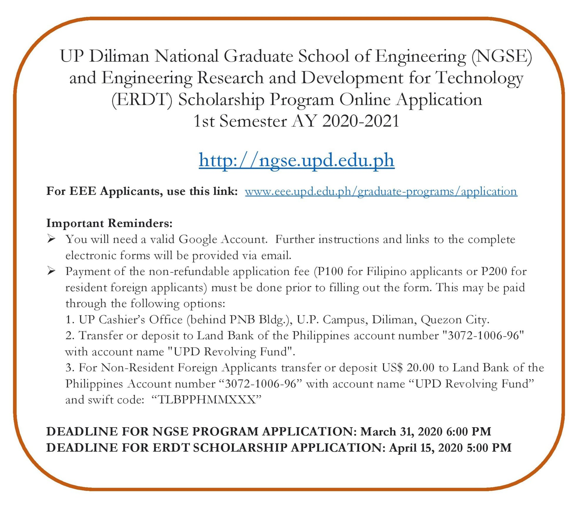 Applications in Engineering Graduate Programs for 1st Sem AY2020-2021