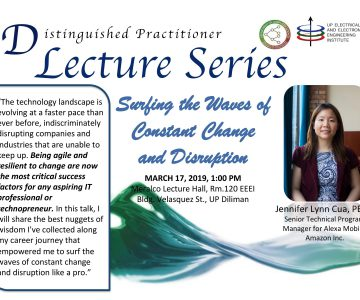 Distinguished Lecture by Ms. Jennifer Cua (Postponed)