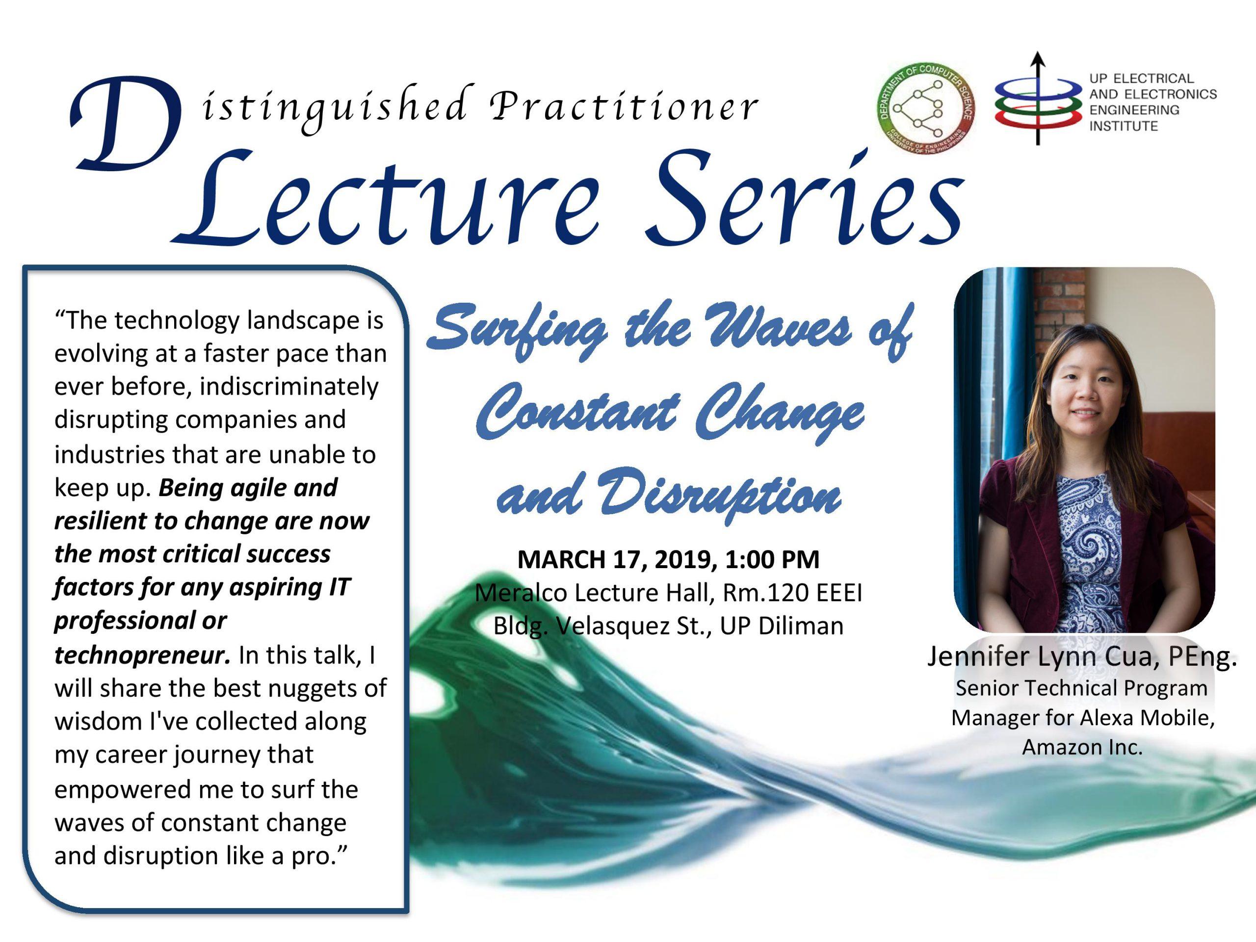 Distinguished Lecture by Ms. Jennifer Cua (Postponed)