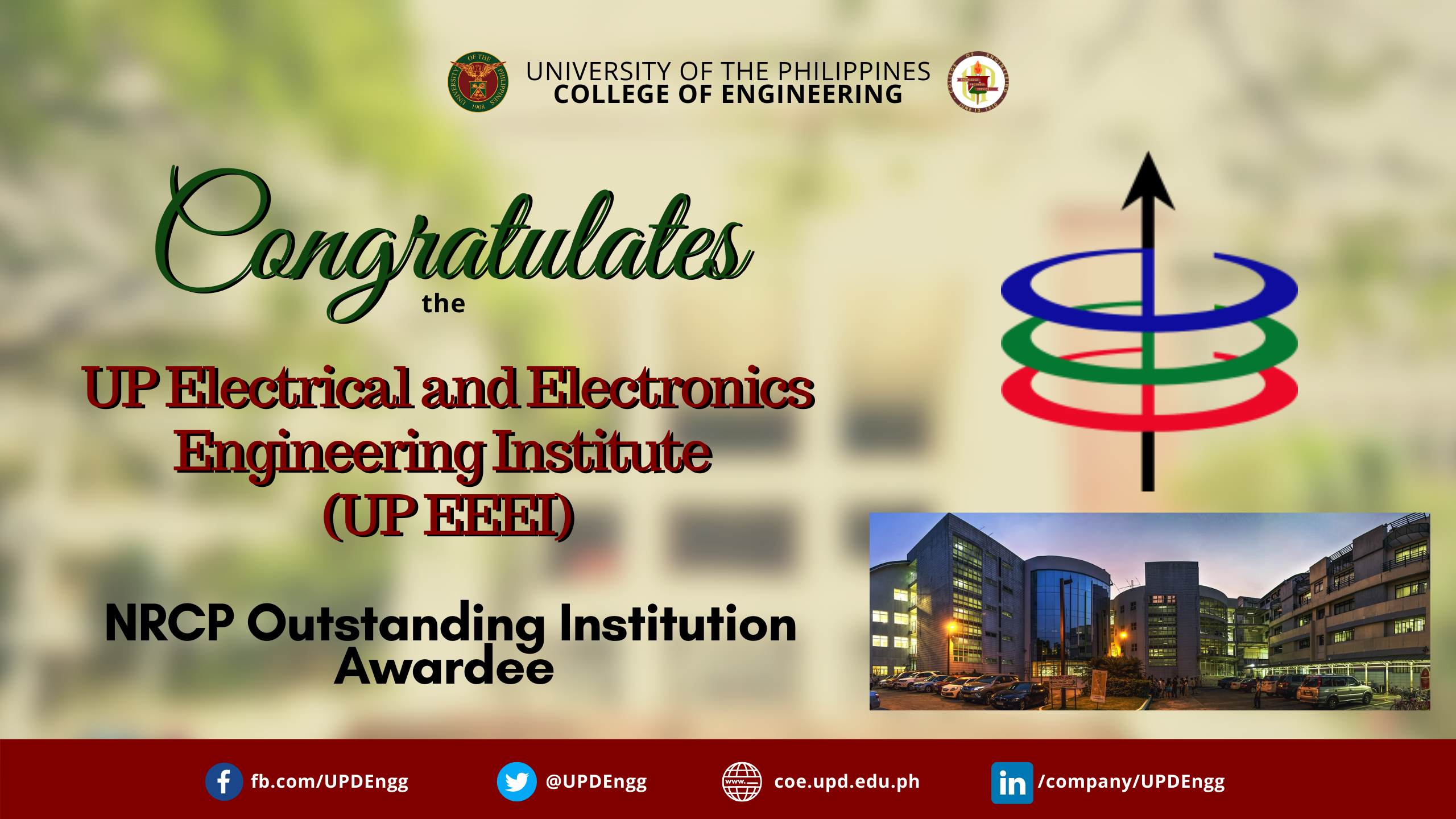 UP EEEI – NRCP Outstanding Institution Awardee and Prof. Henry Adorna – NRCP Achievement Awardee