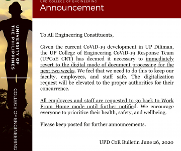 Announcement – UPD CoE Bulletin June 26, 2020