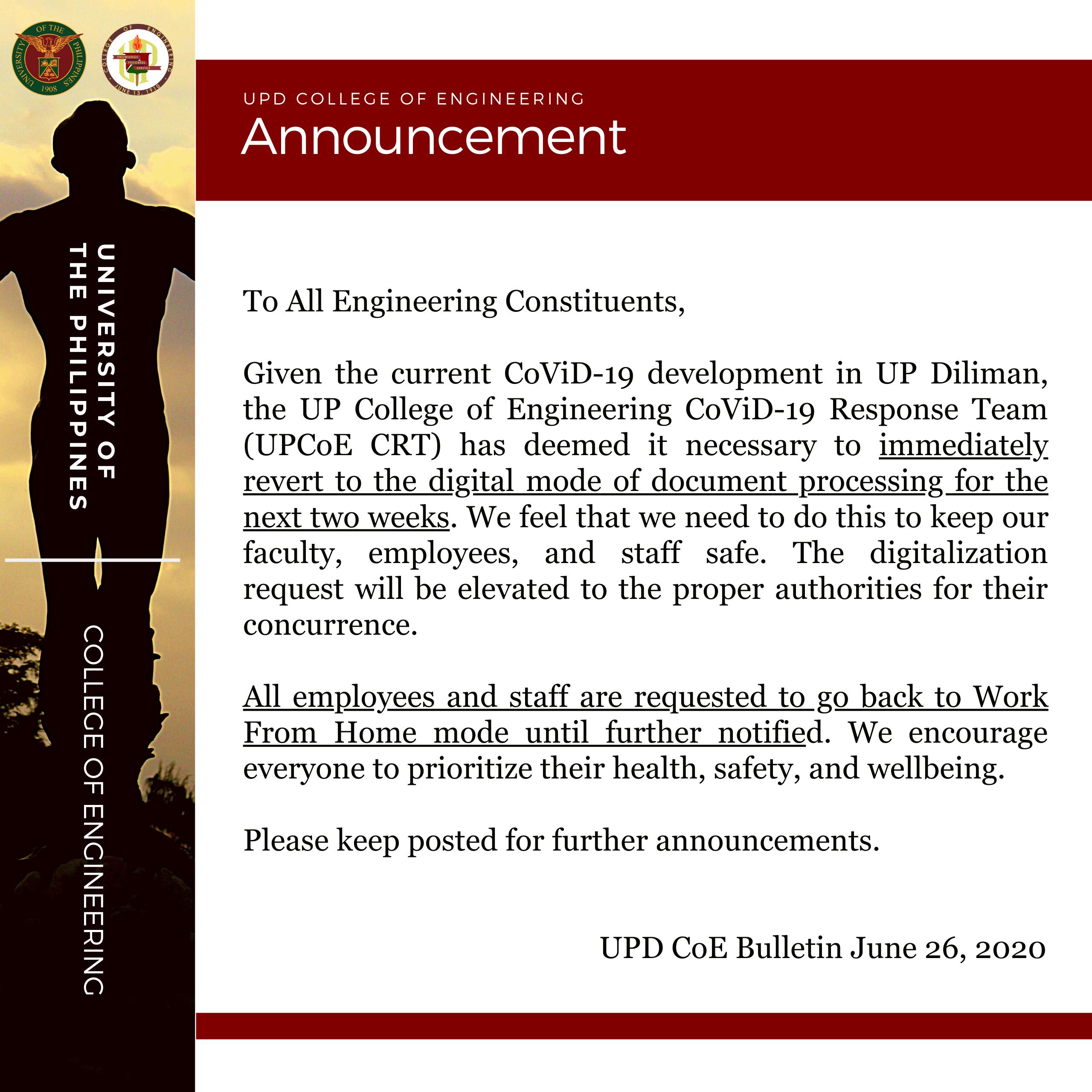 Announcement – UPD CoE Bulletin June 26, 2020