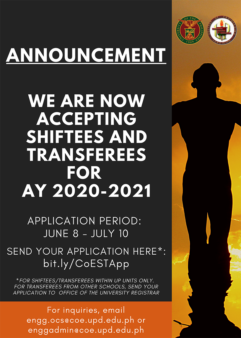 SHIFTING/TRANSFER to UPD CoE AY 2020-2021 Announcement and Procedures