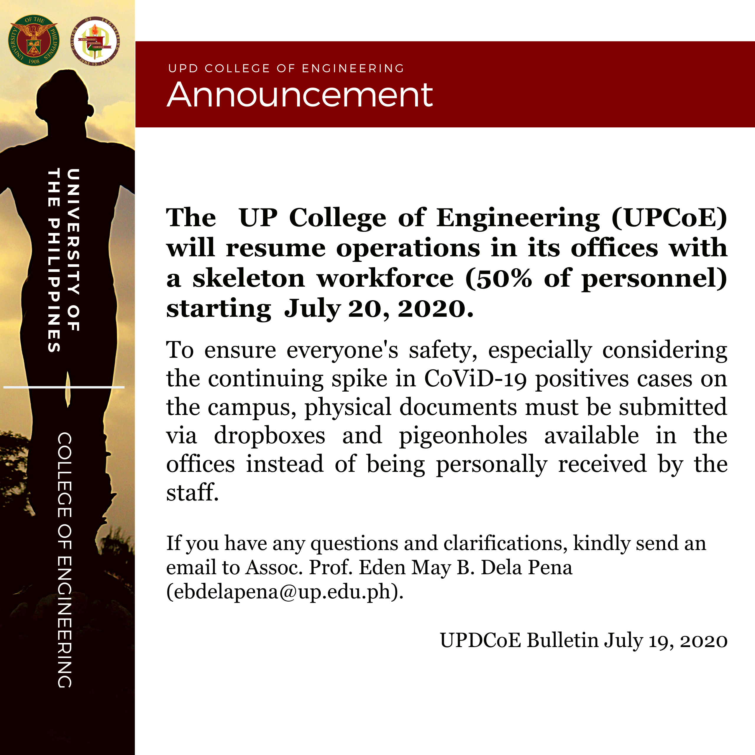 Announcement – UPD CoE Bulletin July 19, 2020