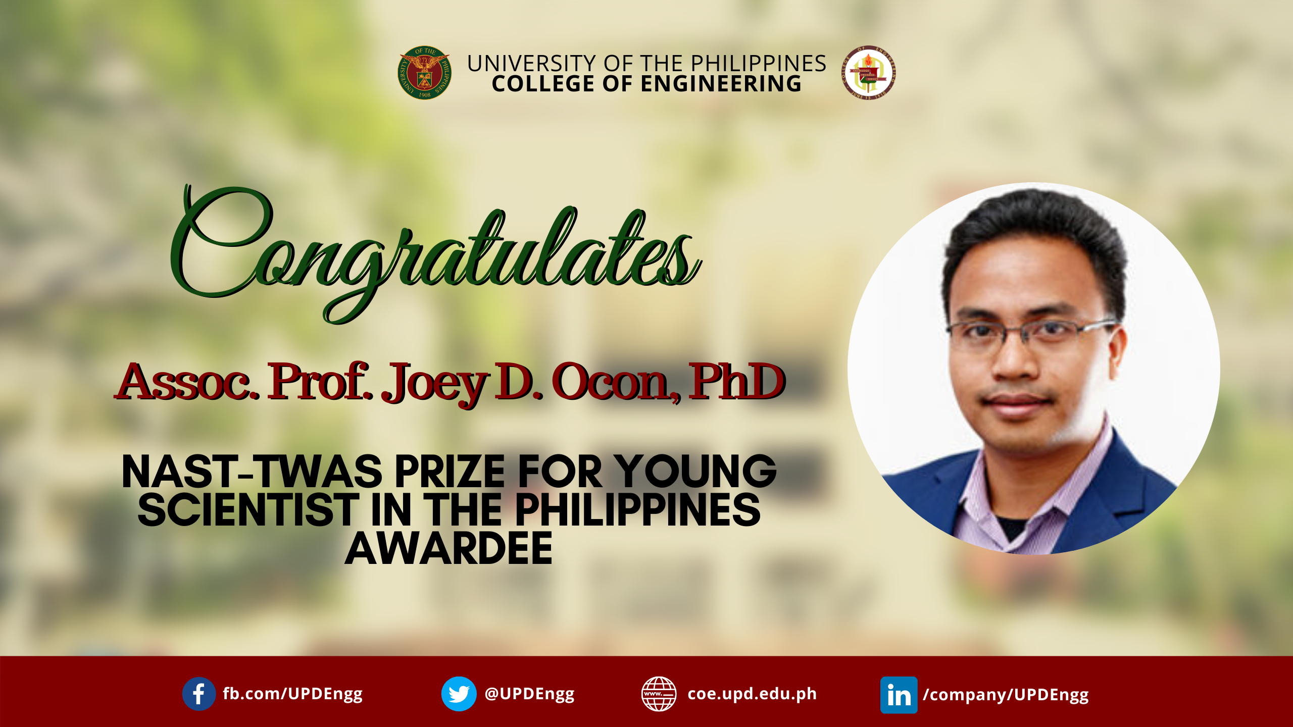 NAST-TWAS Prize for Young Scientist in the Philippines – Dr. Joey D. Ocon