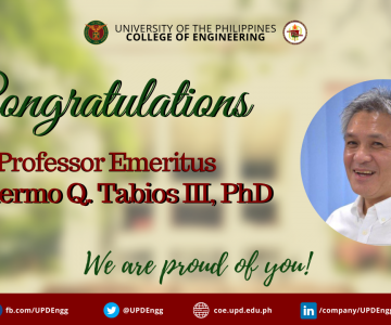 Guillermo O. Tabios III, PhD is the newest Professor Emeritus of the UP College of Engineering