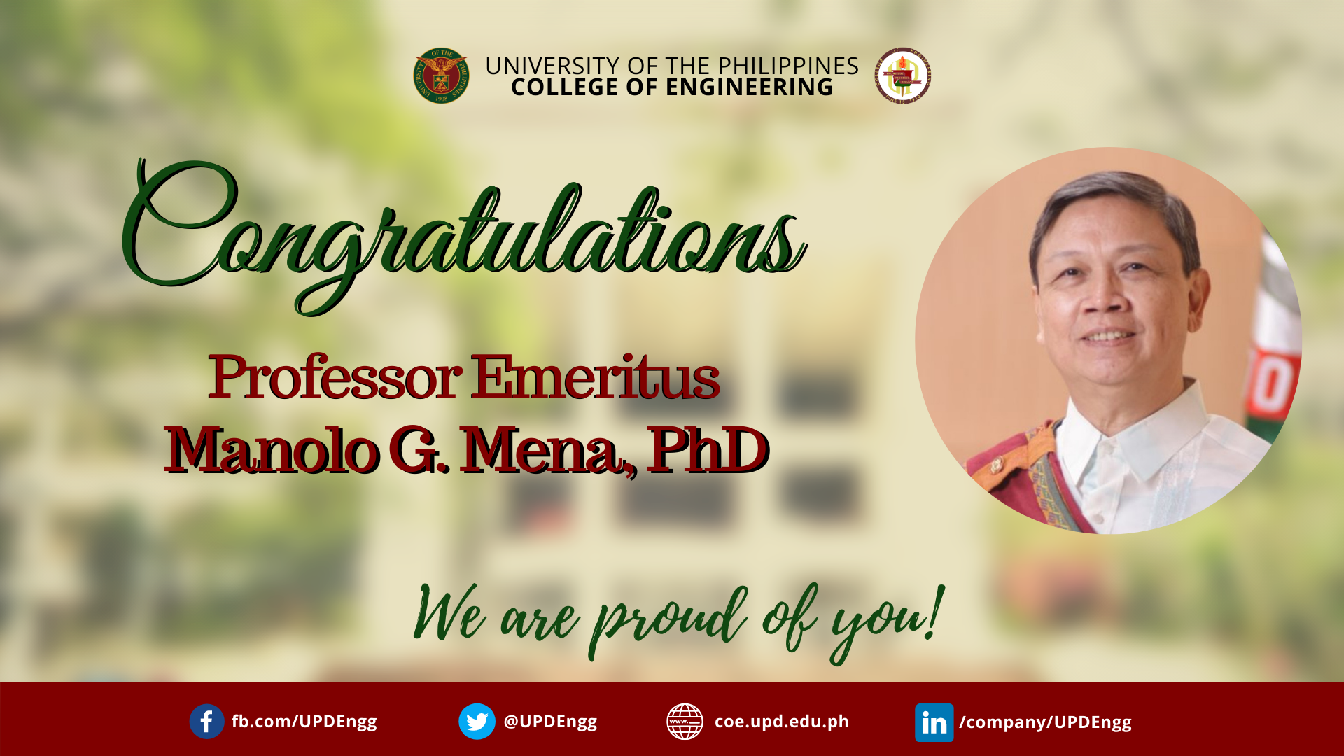 Manolo G. Mena, PhD is the newest Professor Emeritus of the UP College of Engineering