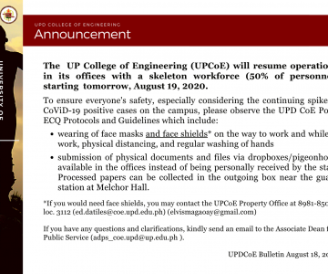 Announcement – Resumption of UPCoE Offices starting August 19, 2020