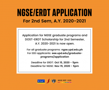 NGSE & ERDT Applications Now Open for the 2nd Semester