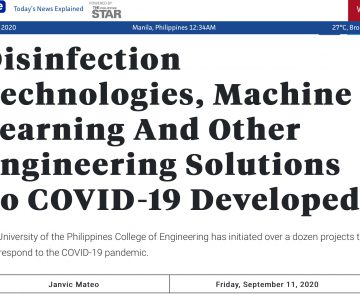 """UP CoE in the news: """"Disinfection Technologies, Machine Learning And Other Engineering Solutions To COVID-19 Developed""""-One News"""