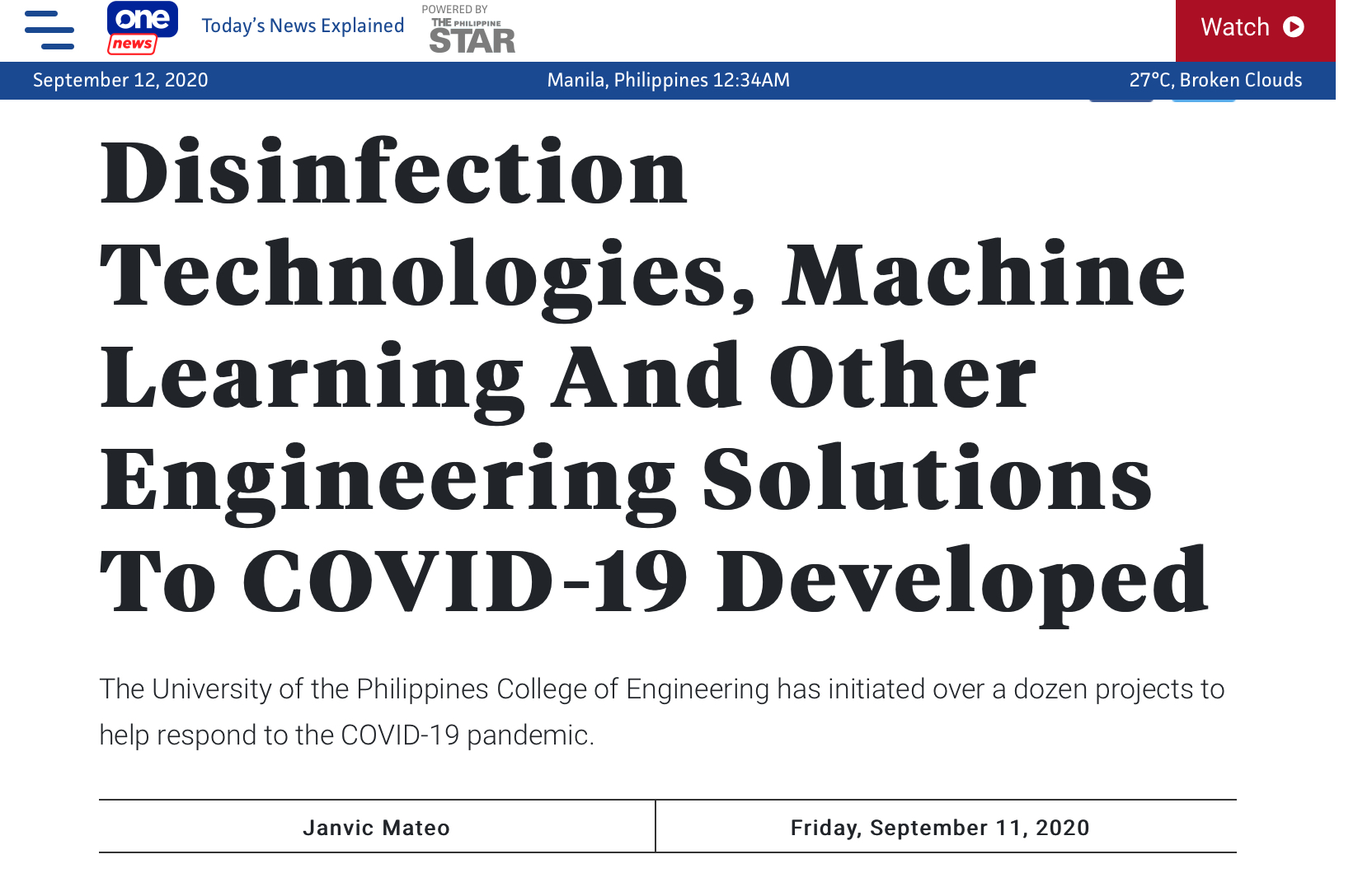 "UP CoE in the news: ""Disinfection Technologies, Machine Learning And Other Engineering Solutions To COVID-19 Developed""-One News"