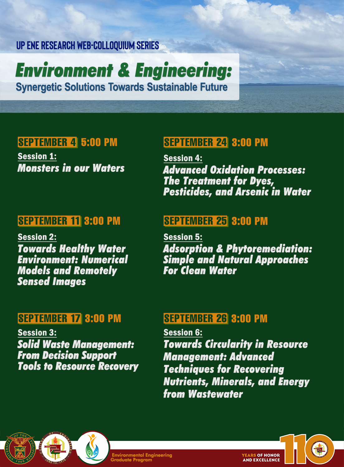 """""""Environment & Engineering: Synergetic Solutions Towards Sustainable Future"""" Webinar Series"""