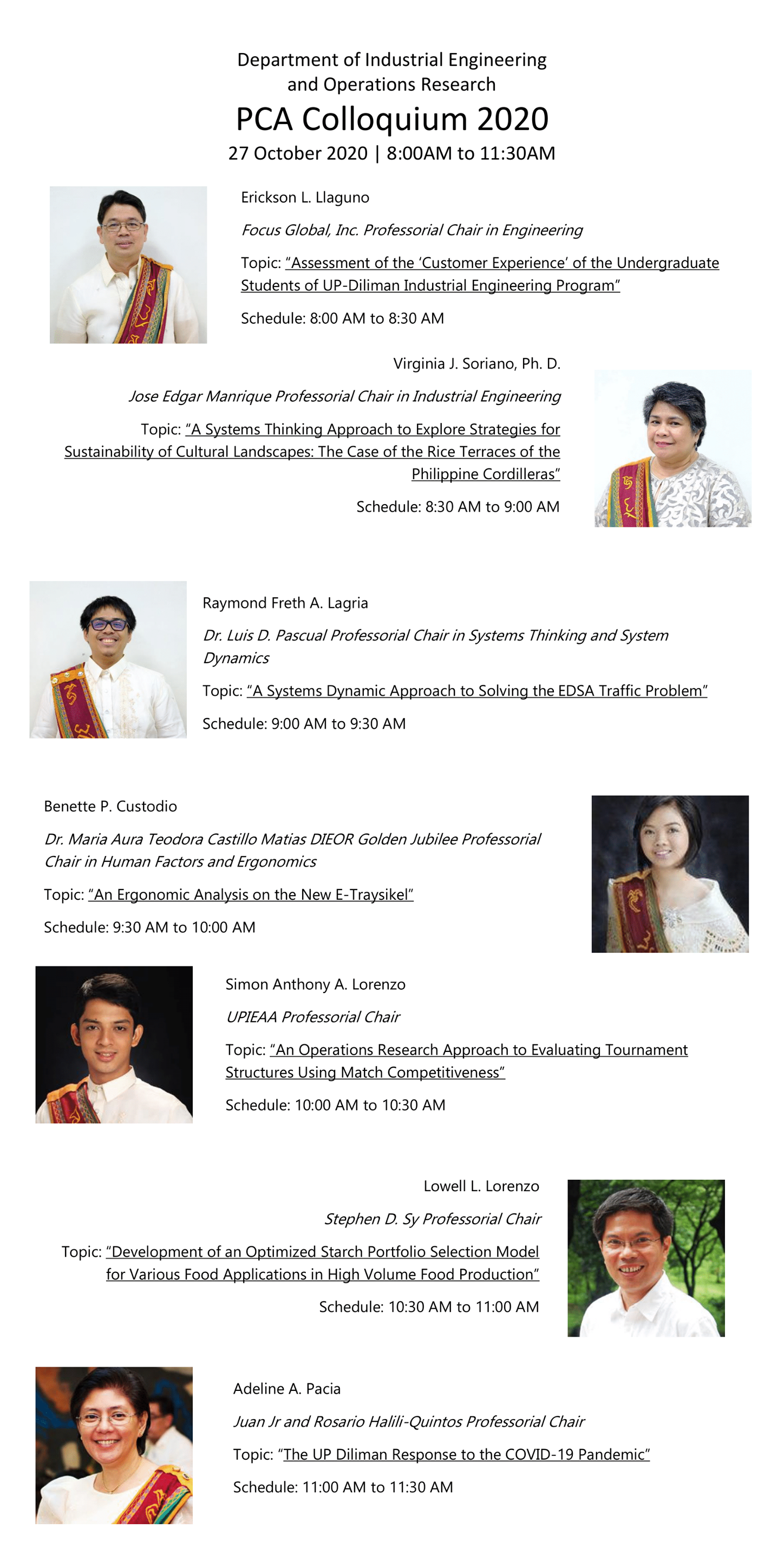 UP Department of Industrial Engineering and Operations research PCA (Professorial Chair Awards) Colloquium
