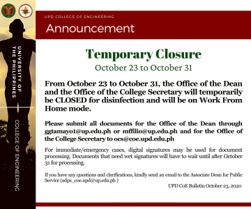 Temporary Closure of the Dean's Office and the Office of the College Secretary from Oct. 23 to 31