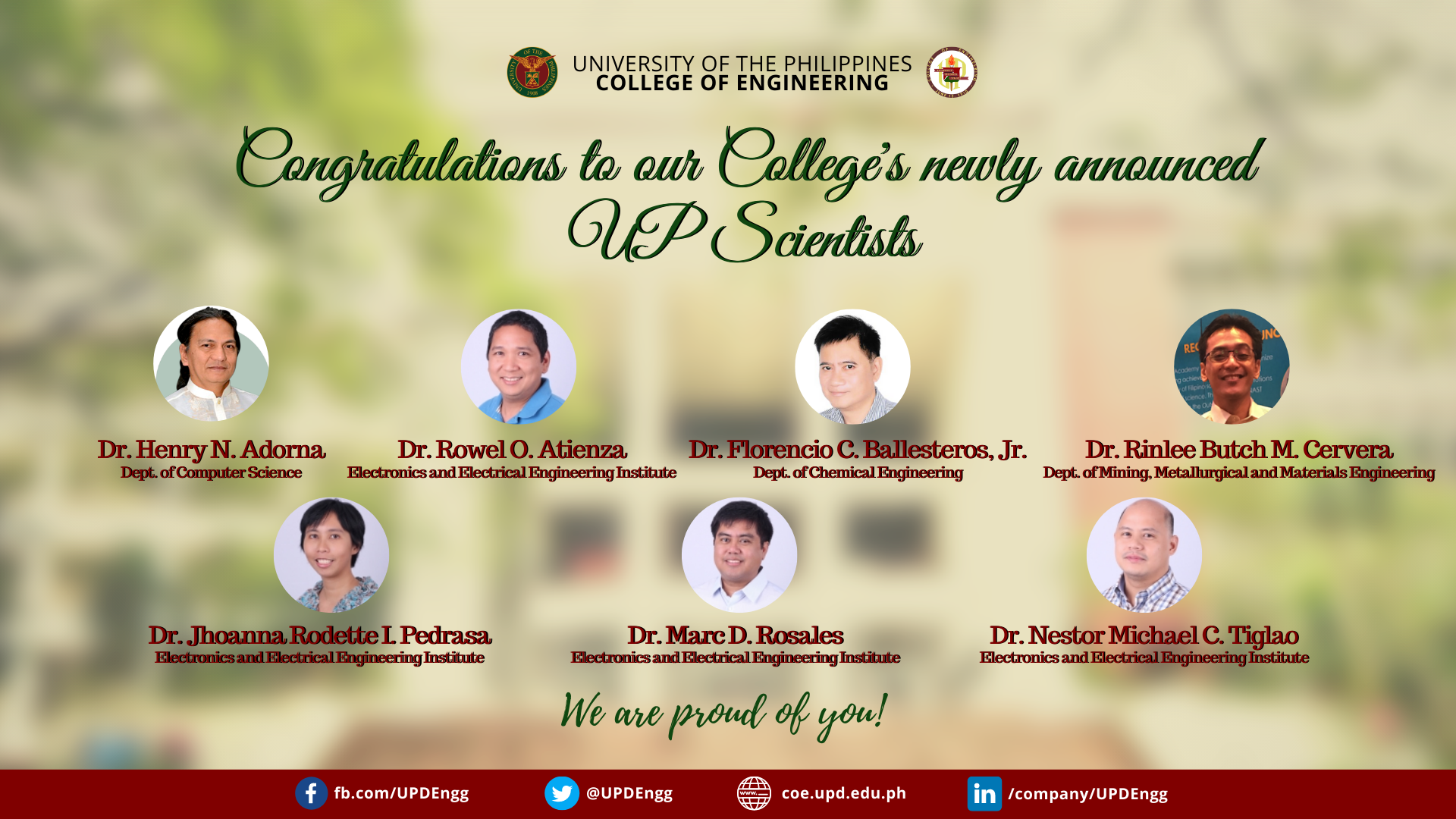 7 UP CoE Professors Announced as UP Scientists