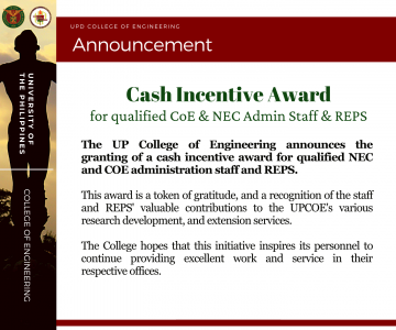 Announcement: Cash Incentive Award for Admin Staff and REPS