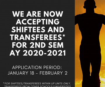 Applications for Shiftees and Transferees for 2nd Sem AY 2020-2021