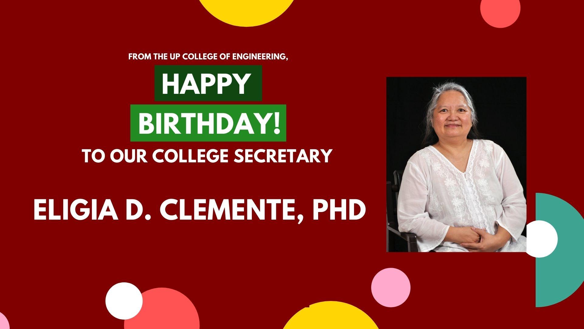 Birthday Greetings to the UP CoE College Secretary!