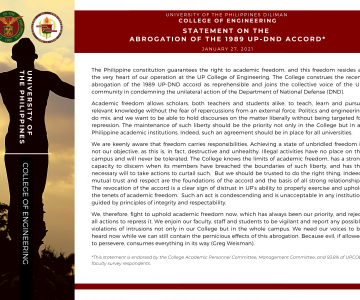 UP College of Engineering   Statement on the Abrogation of the 1989 UP-DND Accord*