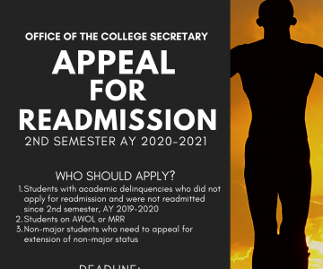 Appeal for Readmission for 2nd Semester, AY 2020-2021