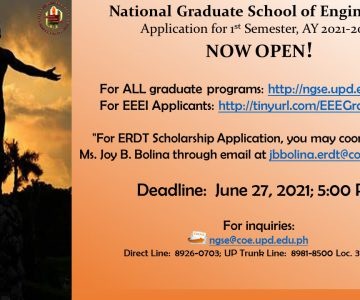 NGSE & ERDT Applications Now Open for the 1st Semester AY 2021-2022