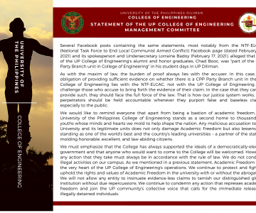 Statement of the UP CoE Management Committee on NTF-ELCAC social media post