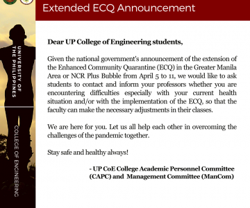 Announcement to Students on ECQ Extension
