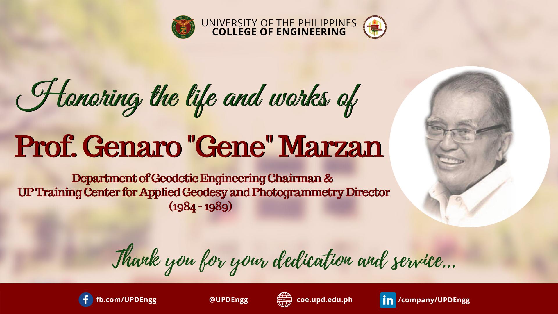 """In Memoriam: Prof. Genaro """"Gene"""" Marzan"""