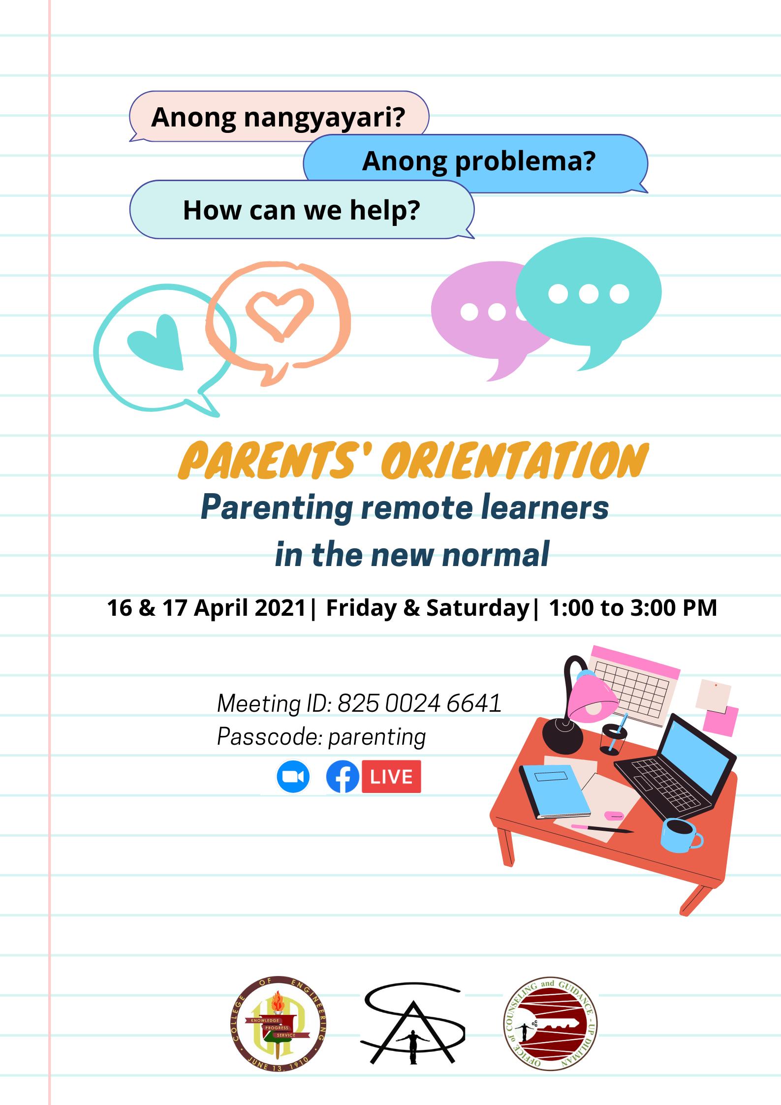 Parents Orientation Webinar (April 16 & 17)