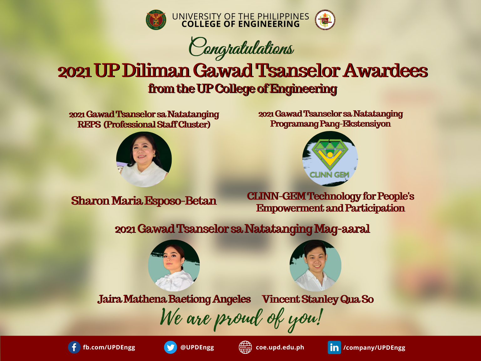 2021 UP Diliman Gawad Tsanselor Awardees from the UP College of Engineering
