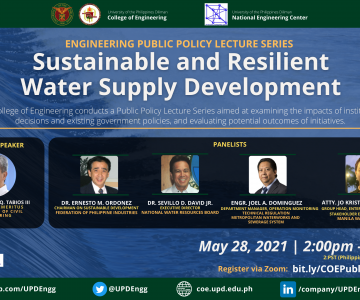 SUSTAINABLE and RESILIENT WATER SUPPLY DEVELOPMENT: Engineering Public Policy Lecture Webinar Series