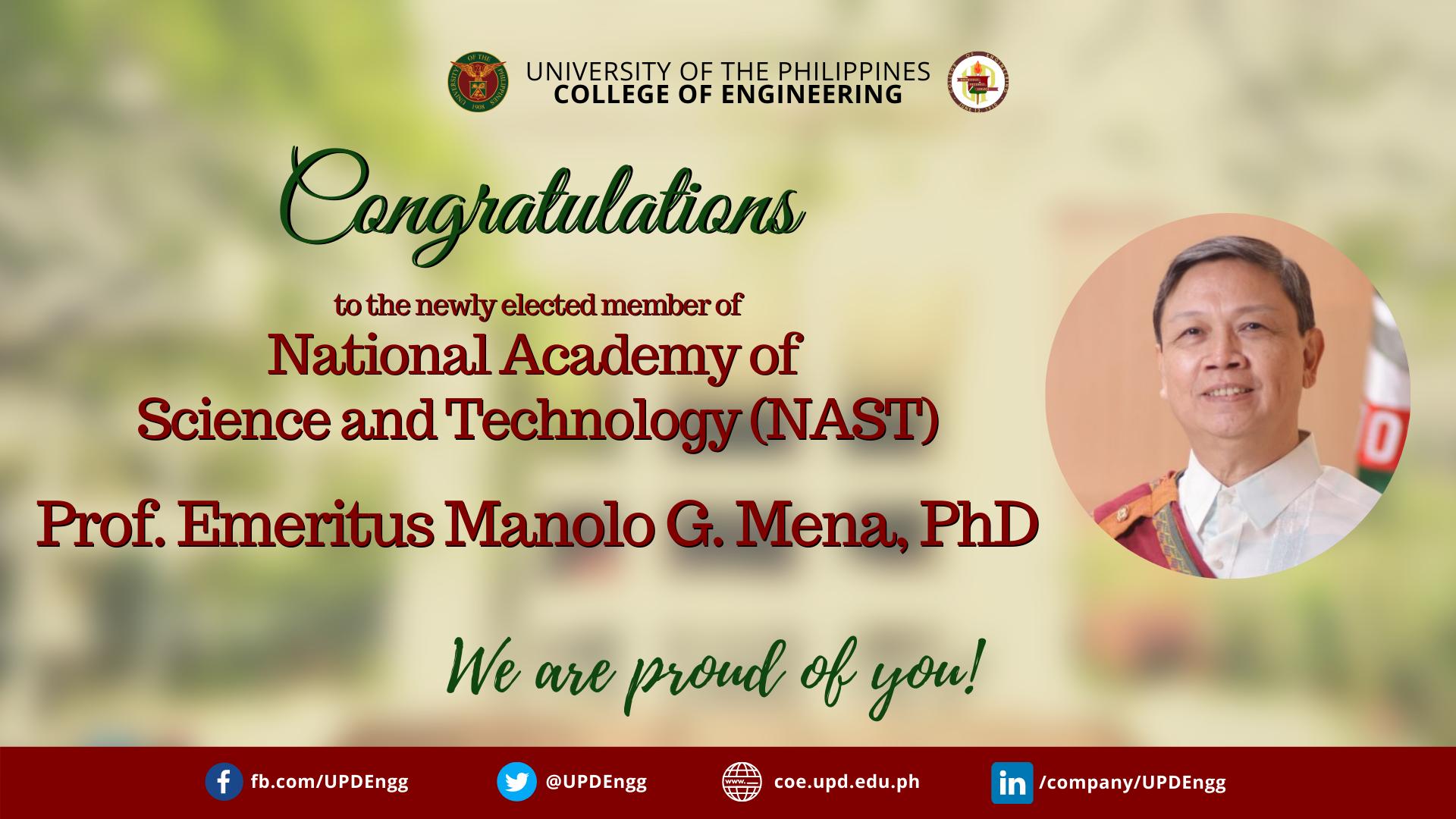 Newly elected NAST member Prof. Emeritus Mena