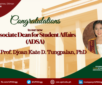 Dr. Djoan Kate Tungpalan is the new Associate Dean for Student Affairs (ADSA)