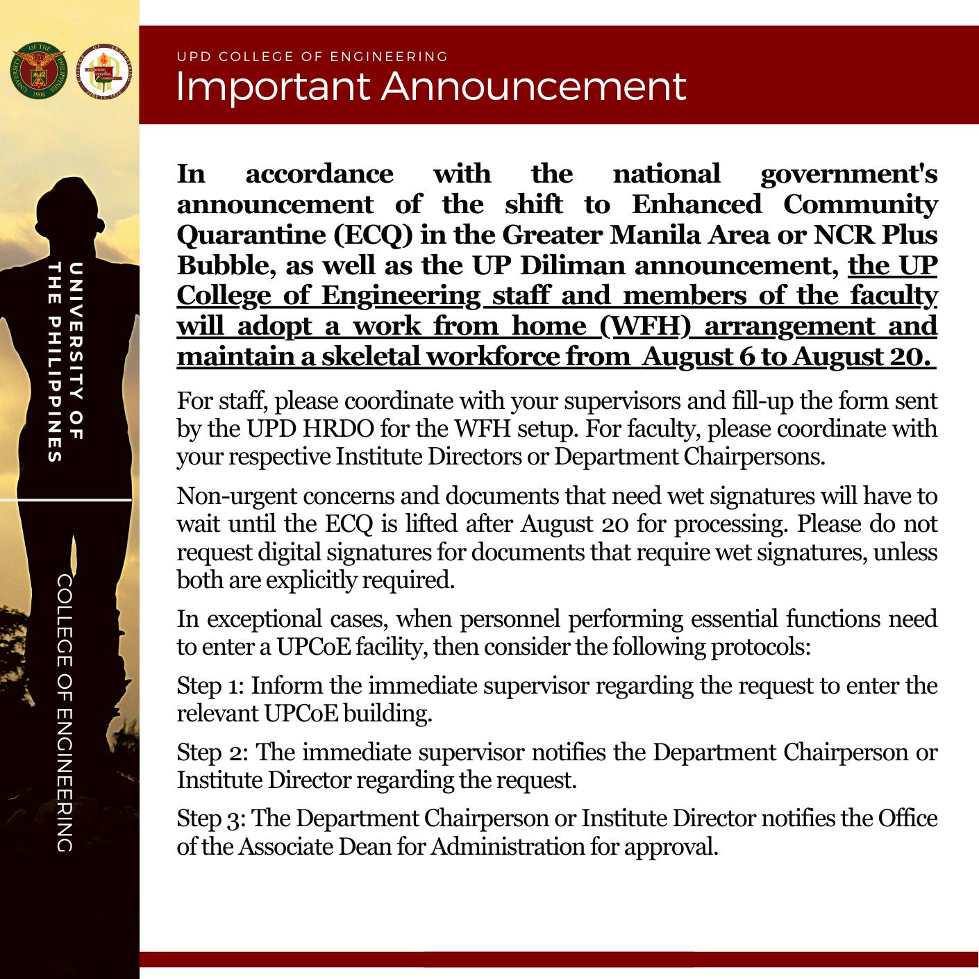 Important Announcement [ECQ ]