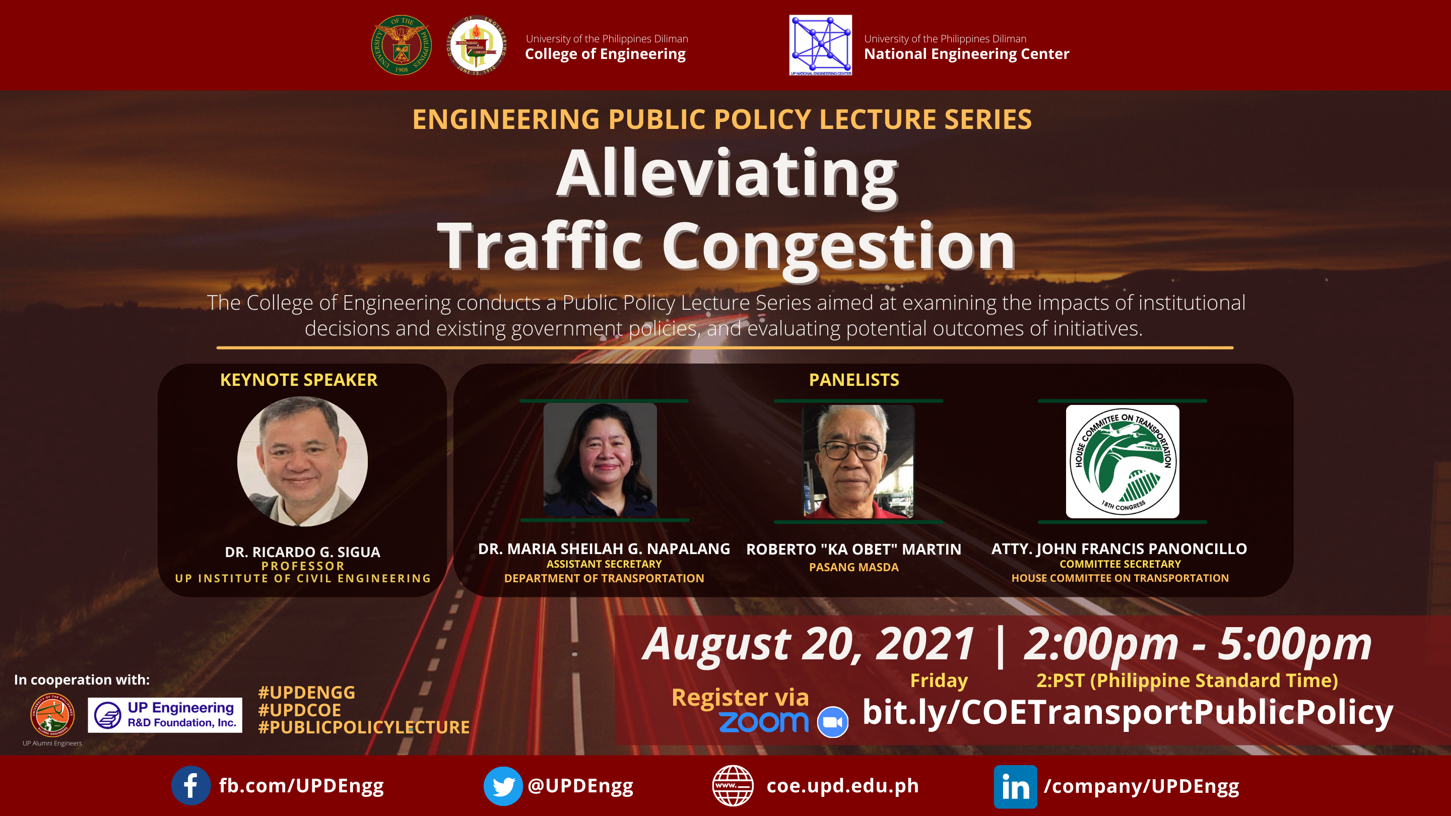 ALLEVIATING TRAFFIC CONGESTION: Engineering Public Policy Lecture Webinar Series